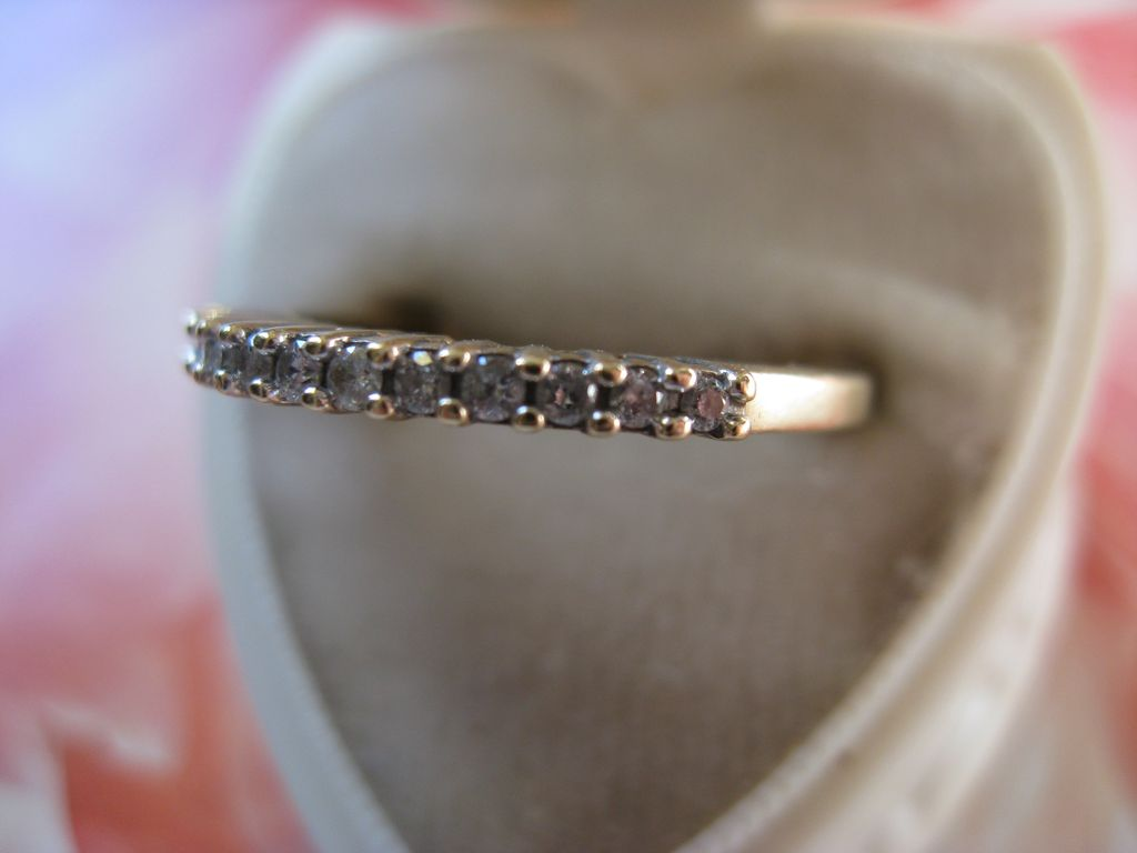 10K Yellow Gold Diamond Wedding Band, Stacking Ring, Brides Jewelry, Promise Ring, April Birthstone