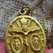 St. Pius Religious Slider Medal Necklace