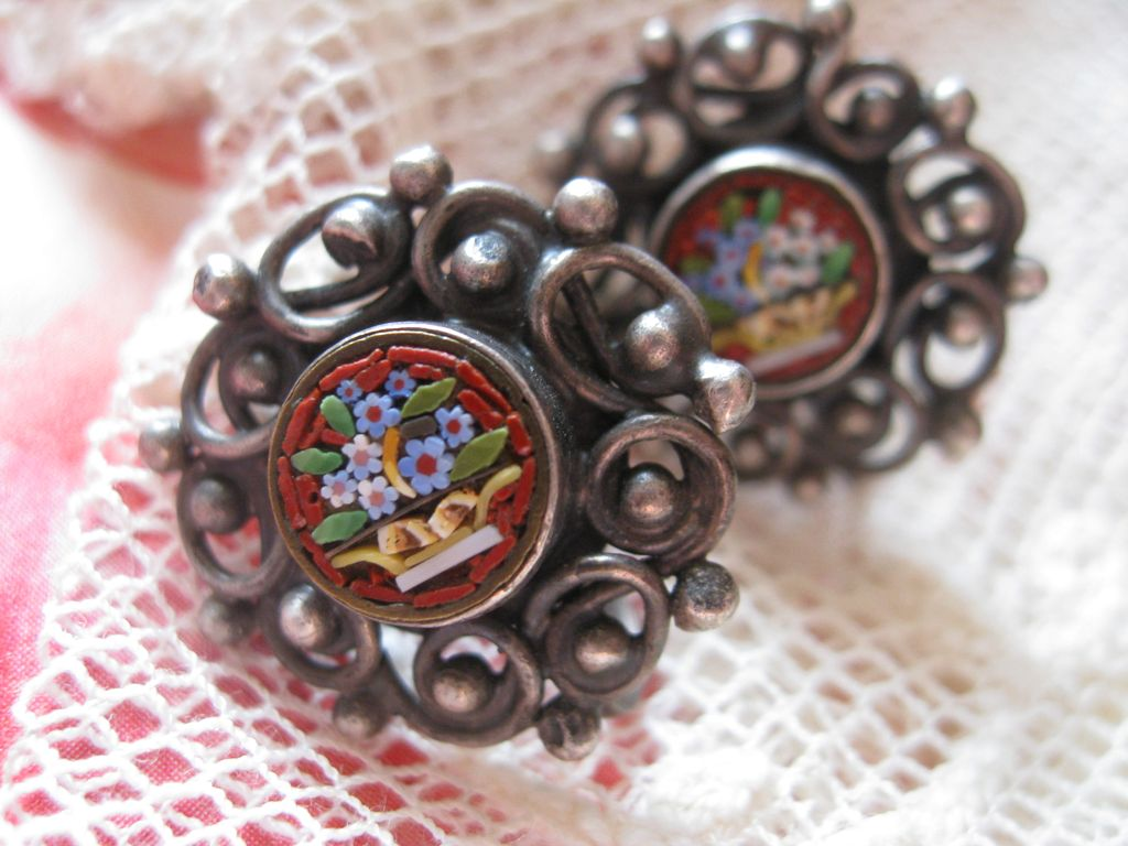 Sterling Mosaic Flower Basket Screw Backs