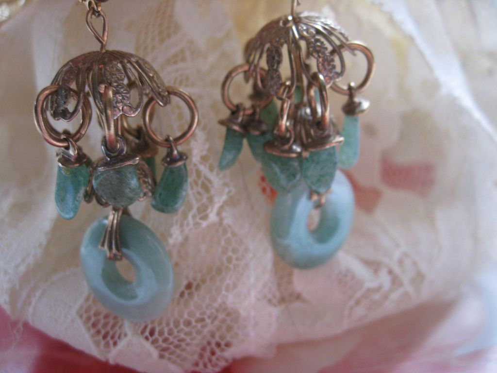 Vintage Jade Pierced Earrings