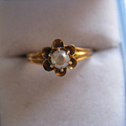 10K Victorian River Pearl Ring    Petite      June Birthstone