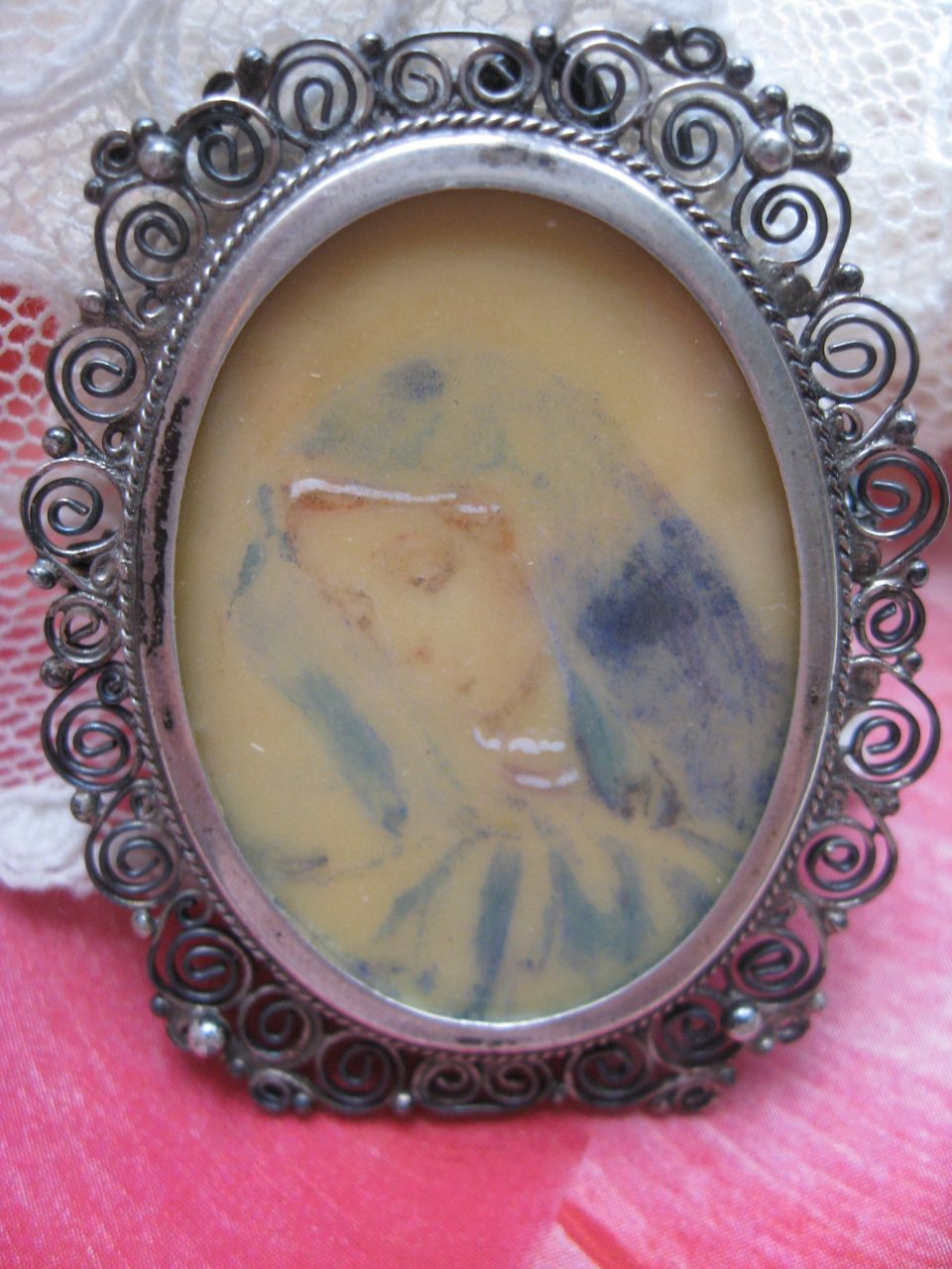 Hand Painted Madonna 800 Silver Frame  Pendant