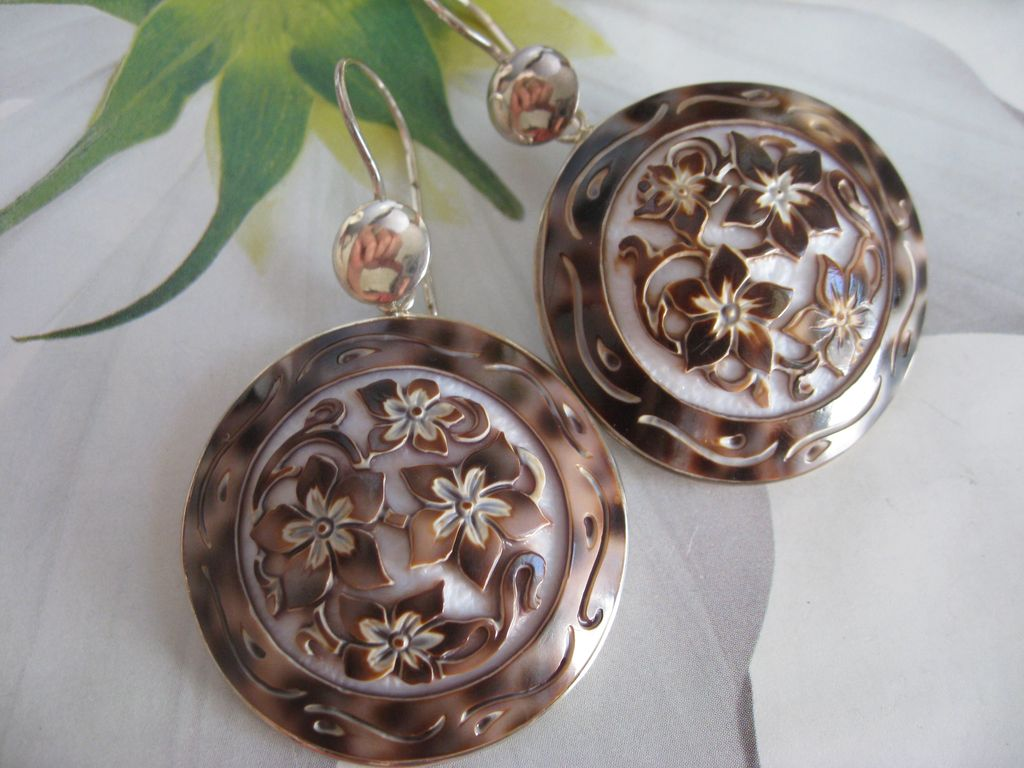 Sterling Carved Shell Cameo Earrings