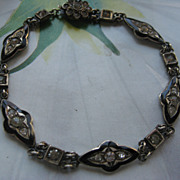Art Deco Enameled Sterling Paste Bracelet