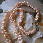 Angelskin Coral Branch Necklace Sterling Clasp