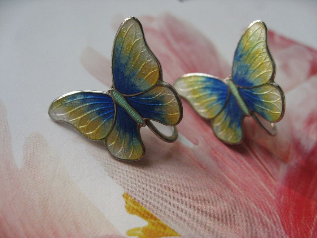 Sterling Enameled Butterfly Screwbacks