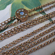 Antique Ladies Watch Chain 10K Opal Slide October Birthstone