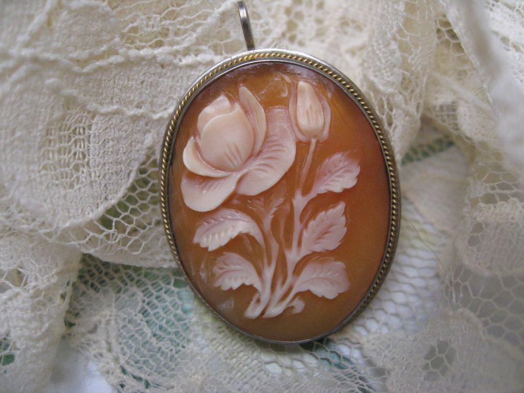 Cameo Pin - Pendant 800 Silver    Rose