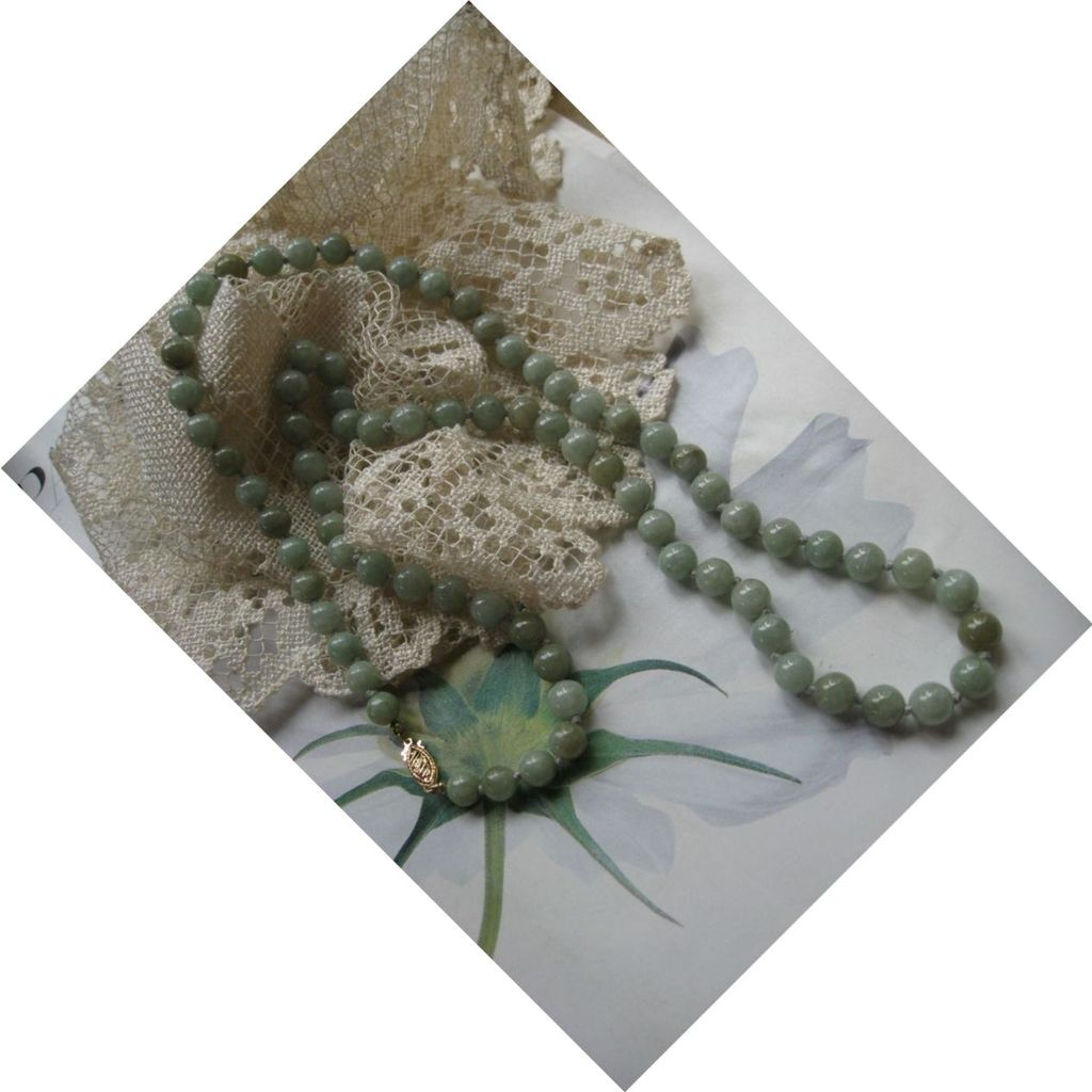Natural Jade Necklace 14K Clasp 27''