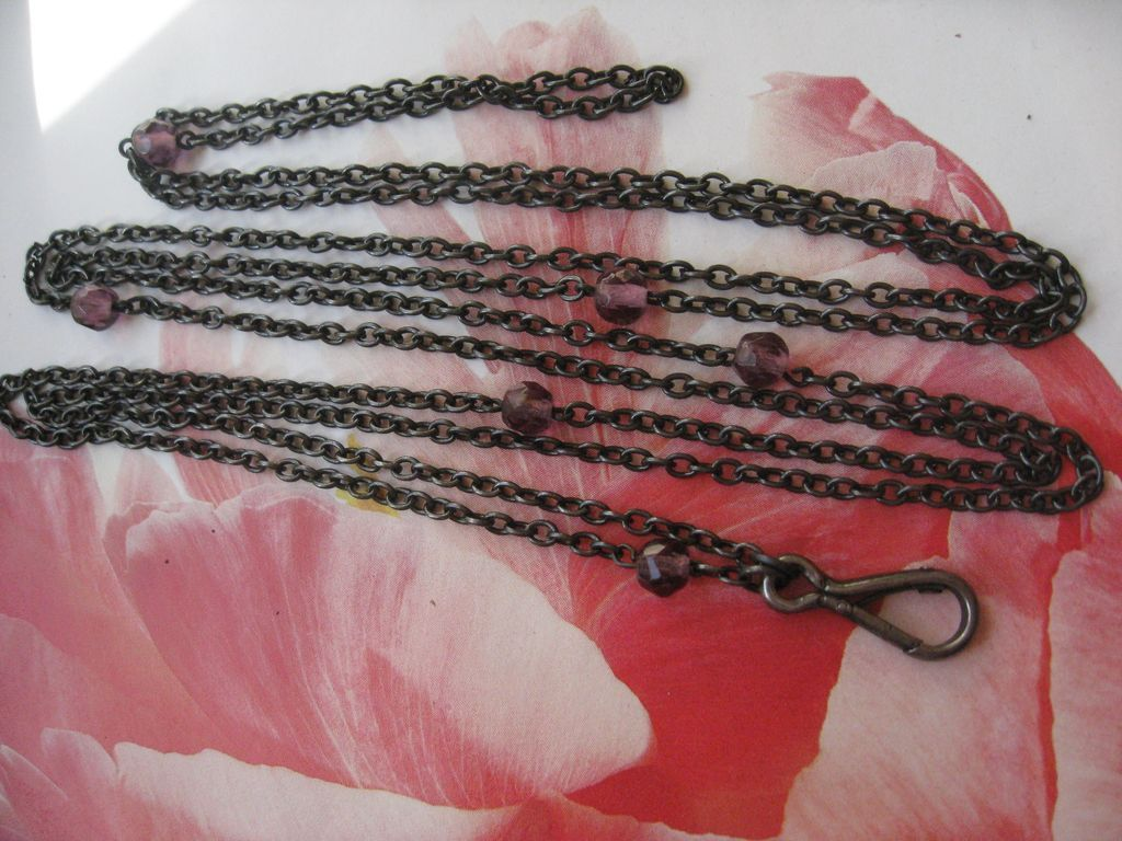 Antique 50'' Jeweled Gun Metal Watch Chain