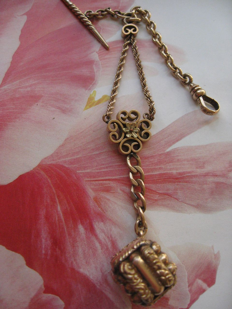 Antique Watch Chain & Fob   Gorgeous Pendant