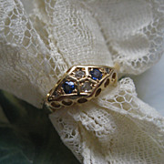 Antique Rose Cut Diamond & Blue Stone Ring  10K