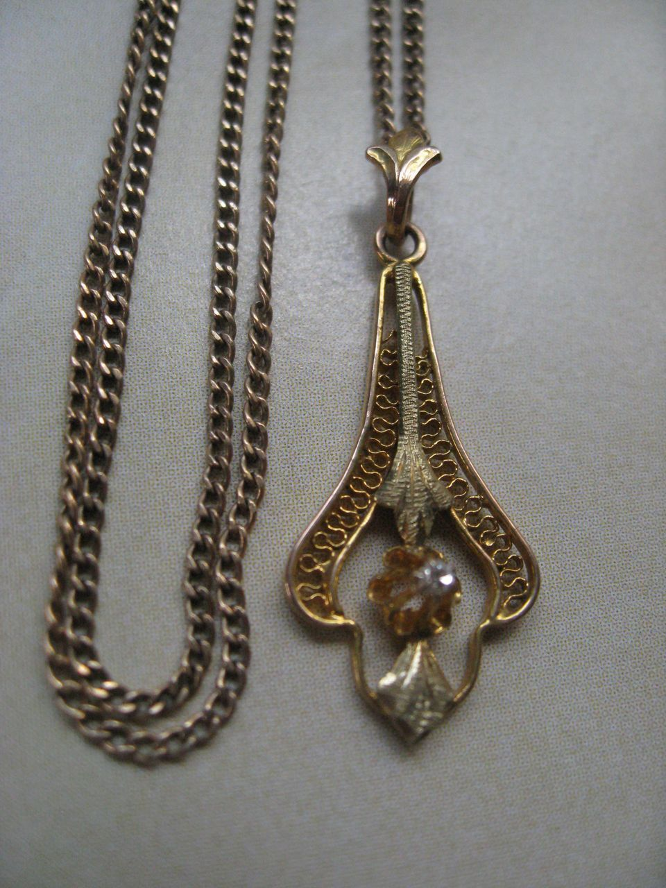 10K Diamond Lavalier on Gold Fill Chain    Art Deco