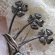 Mexican Sterling Floral Pin
