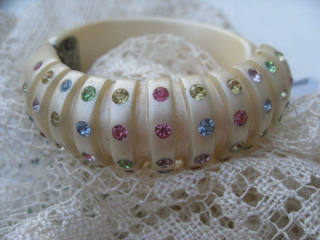 Thermoplastic Rhinestone Clamper Bracelet