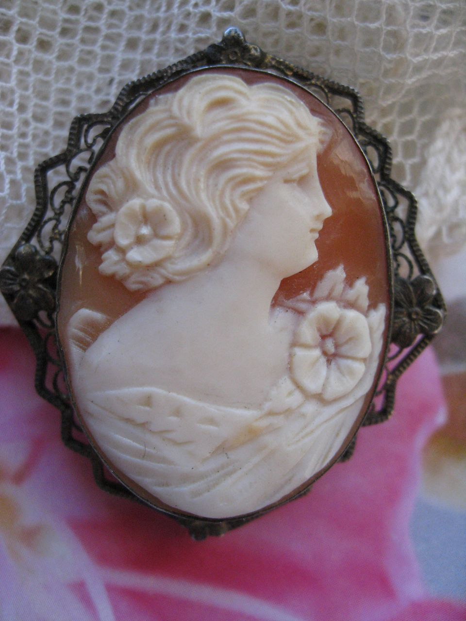 Sterling Carved Shell Cameo Pin     Sterling
