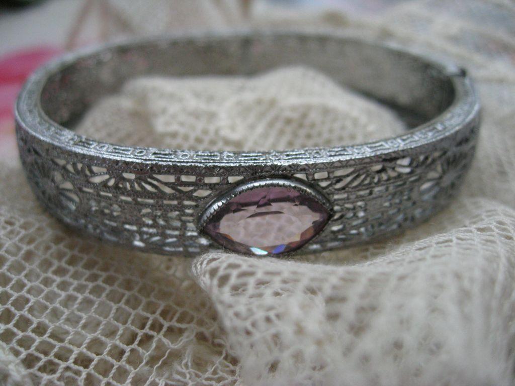 Art Deco Jeweled Filigree Bracelet