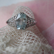 Art Deco 14K White Gold Filigree Aqua Ring