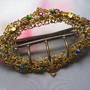 Antique Jeweled Gilt Buckle