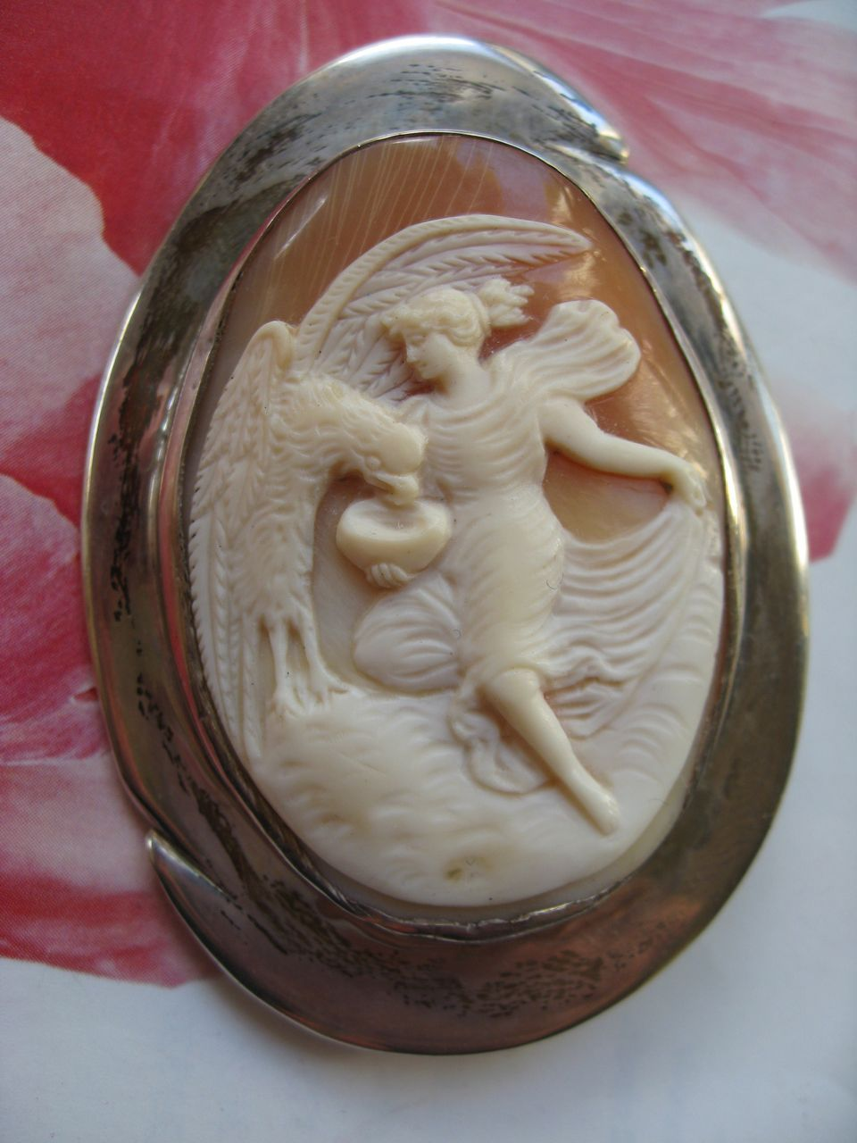 Sterling Cameo Pin  Zeus  Hebe