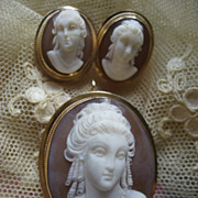 14K Cameo  & Pierced Earrings