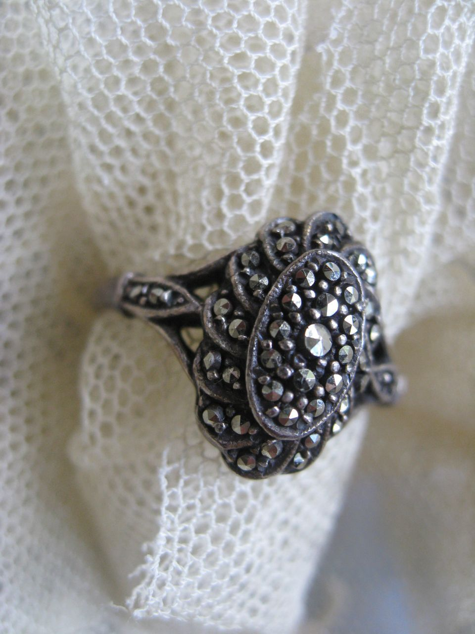 Sterling Marcasite Older Vintage Ring