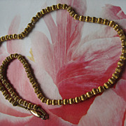 Antique Beaded Necklace in Gold Fill