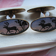David Anderson Sterling Enameled Cufflinks , Vintage Cufflinks