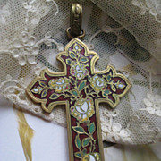 Victorian Enameled Cross Pendant