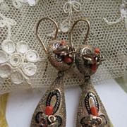Victorian Pierced Earrings in Gold Fill   Coral Branch