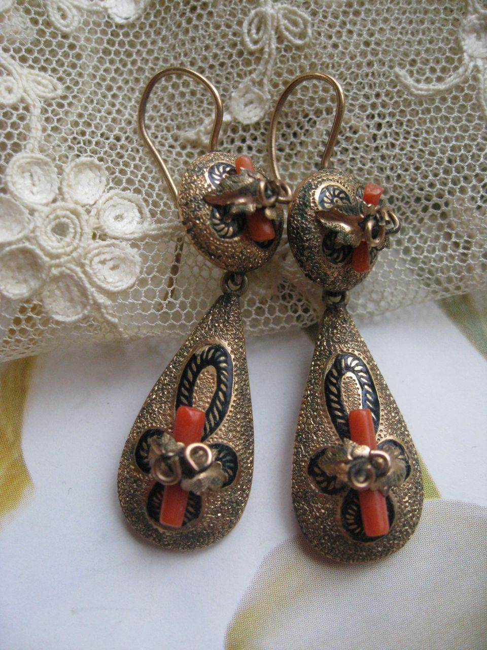 Victorian Pierced Earrings in Gold Fill   Coral Branch
