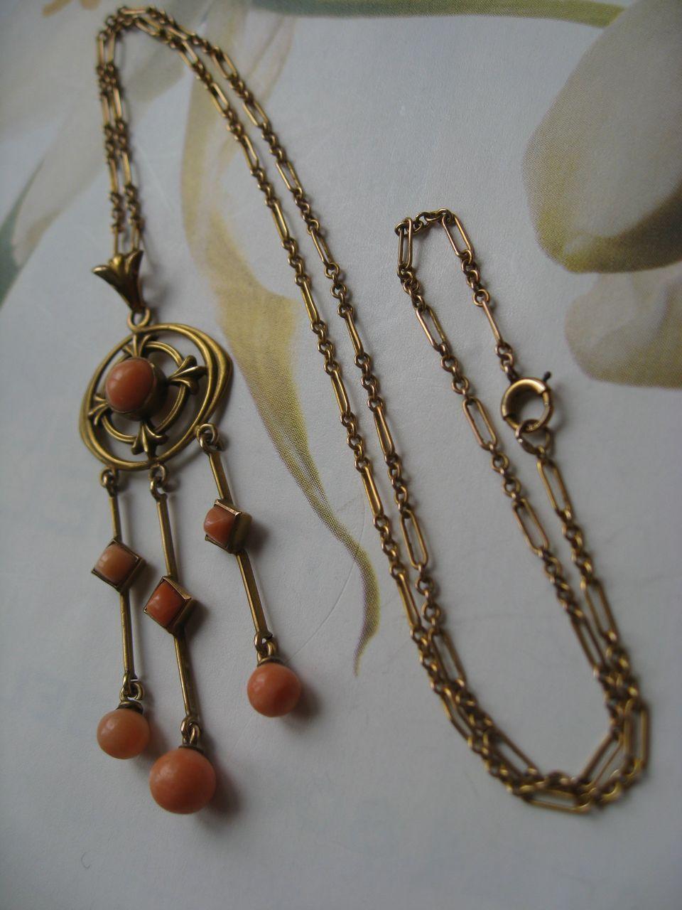 Art Nouveau Coral Lavaliere Necklace in Gold Fill