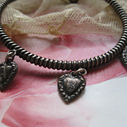 Victorian Puffy Heart Charm Bracelet   Baby