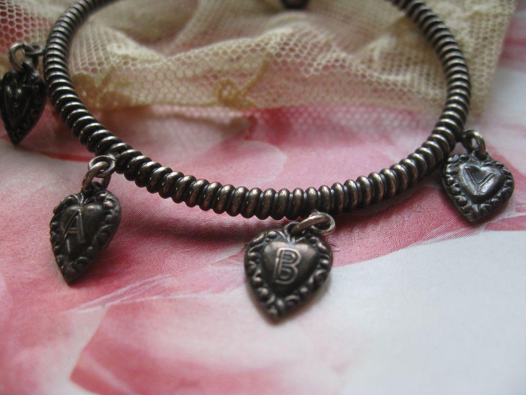 Victorian Puffy Heart Charm Bracelet   Baby