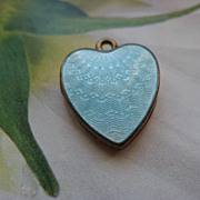 Antique Enameled Heart Locket Charm   F&B