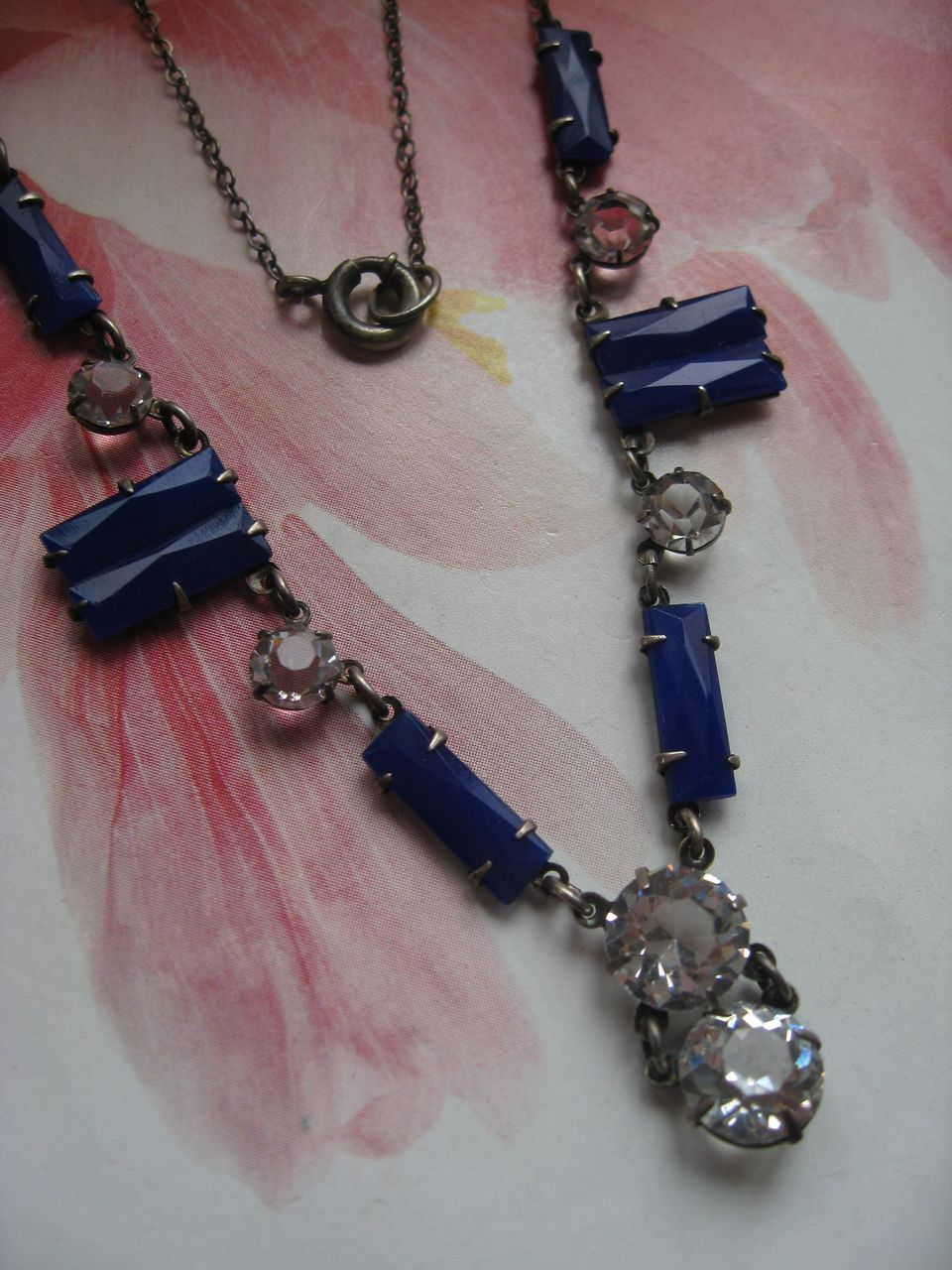 Art Deco Open Back Crystal Necklace