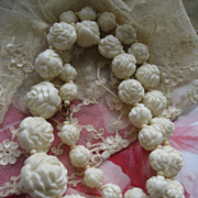 Art Deco Celluloid Roses Necklace