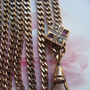 Antique Ladies Watch Chain Jeweled Slide