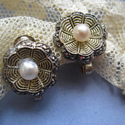 Theodor Fahrner Sterling Cultured Pearl Earrings Vintage German