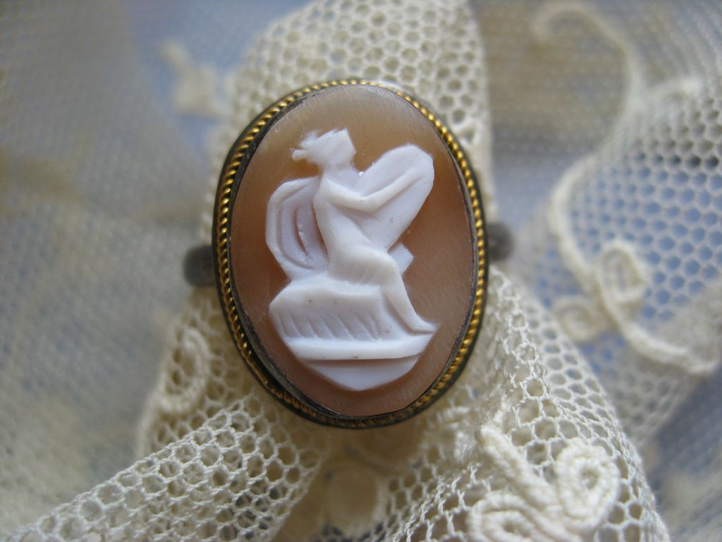 Art Deco 800 Silver Mythological Cameo Ring