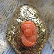 Victorian Coral Cameo Pin   Silver Gilt