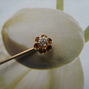 Antique 10K Diamond Stick Pin