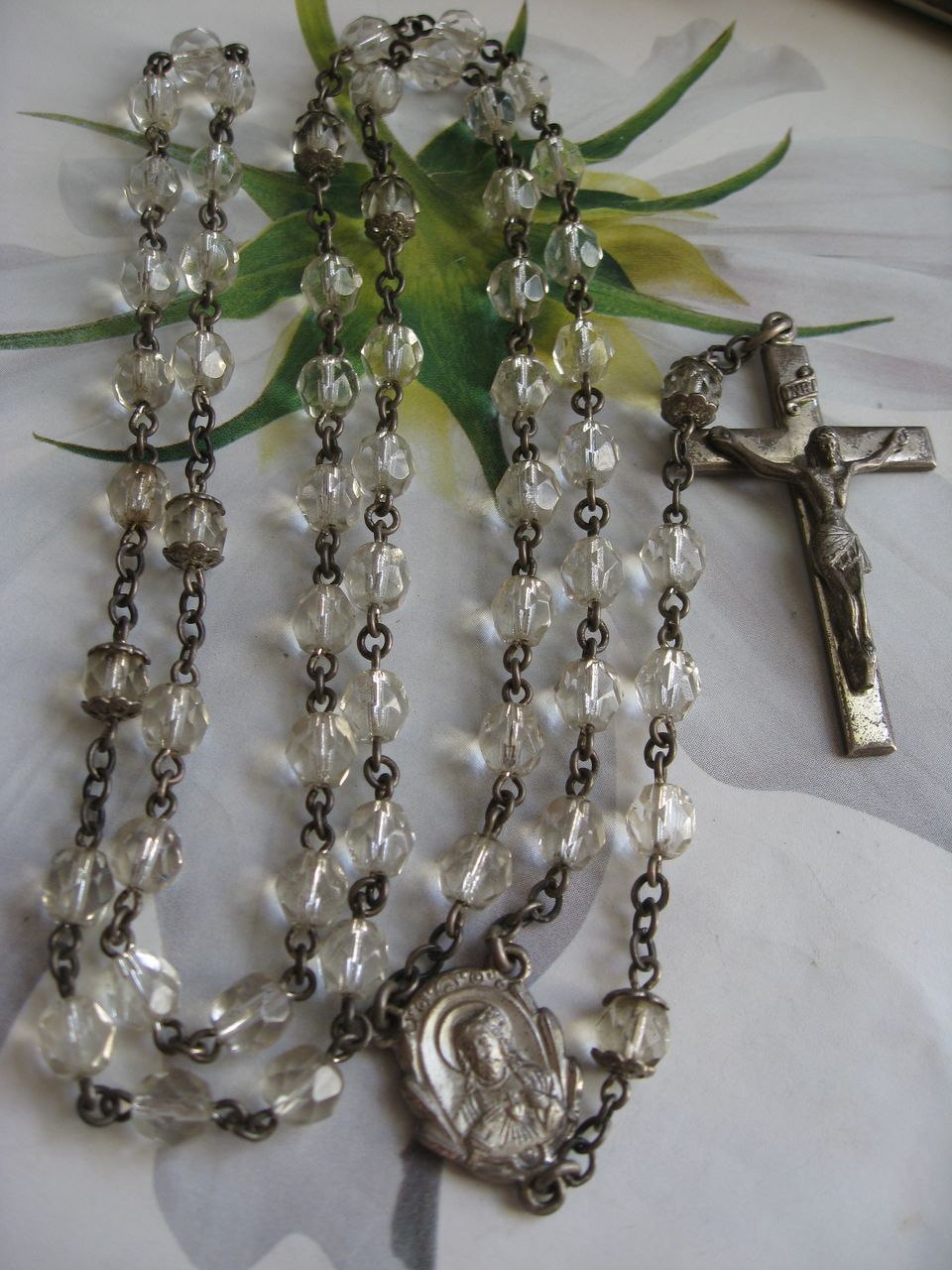 Vintage Creed Sterling Rosary    First Communion Gift