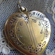 Etched Heart Locket in Gold Fill