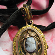 Victorian Cameo Locket on Velvet Ribbon