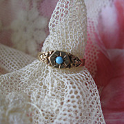 Victorian 10K Persian Turquoise Baby Ring