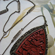 Art Deco Cinnabar Lorgnette Necklace