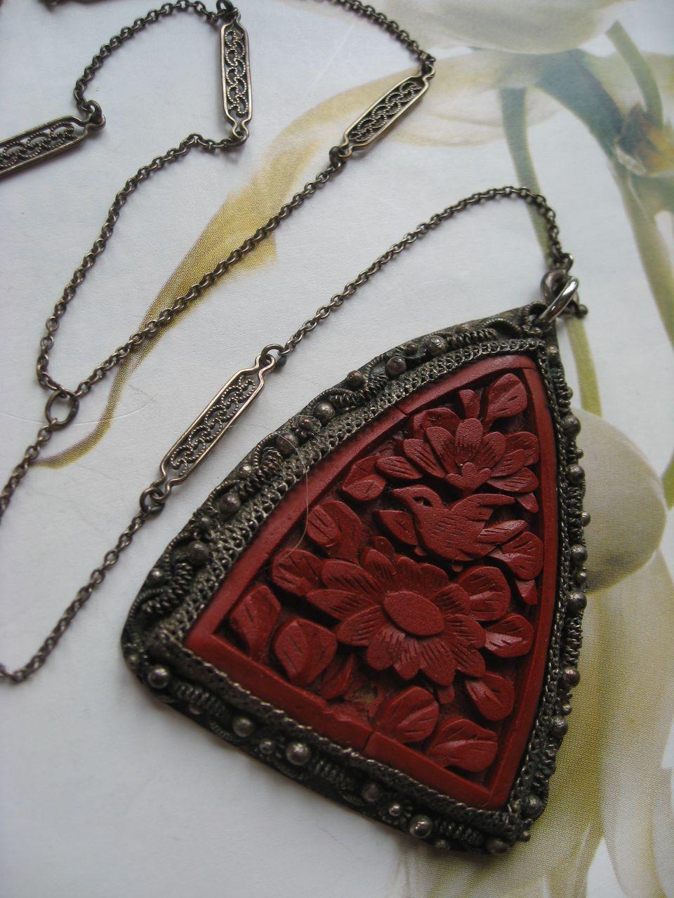 Art Deco Cinnabar Lorgnette Necklace