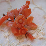 Victorian Carved Coral Pin