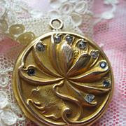 Antique Repousse Paste Locket  Water Lily